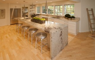 modern kitchen with marble kitchen island