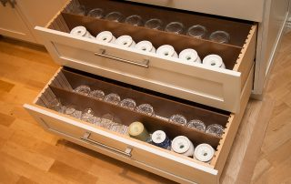 drawers with glasses & mugs