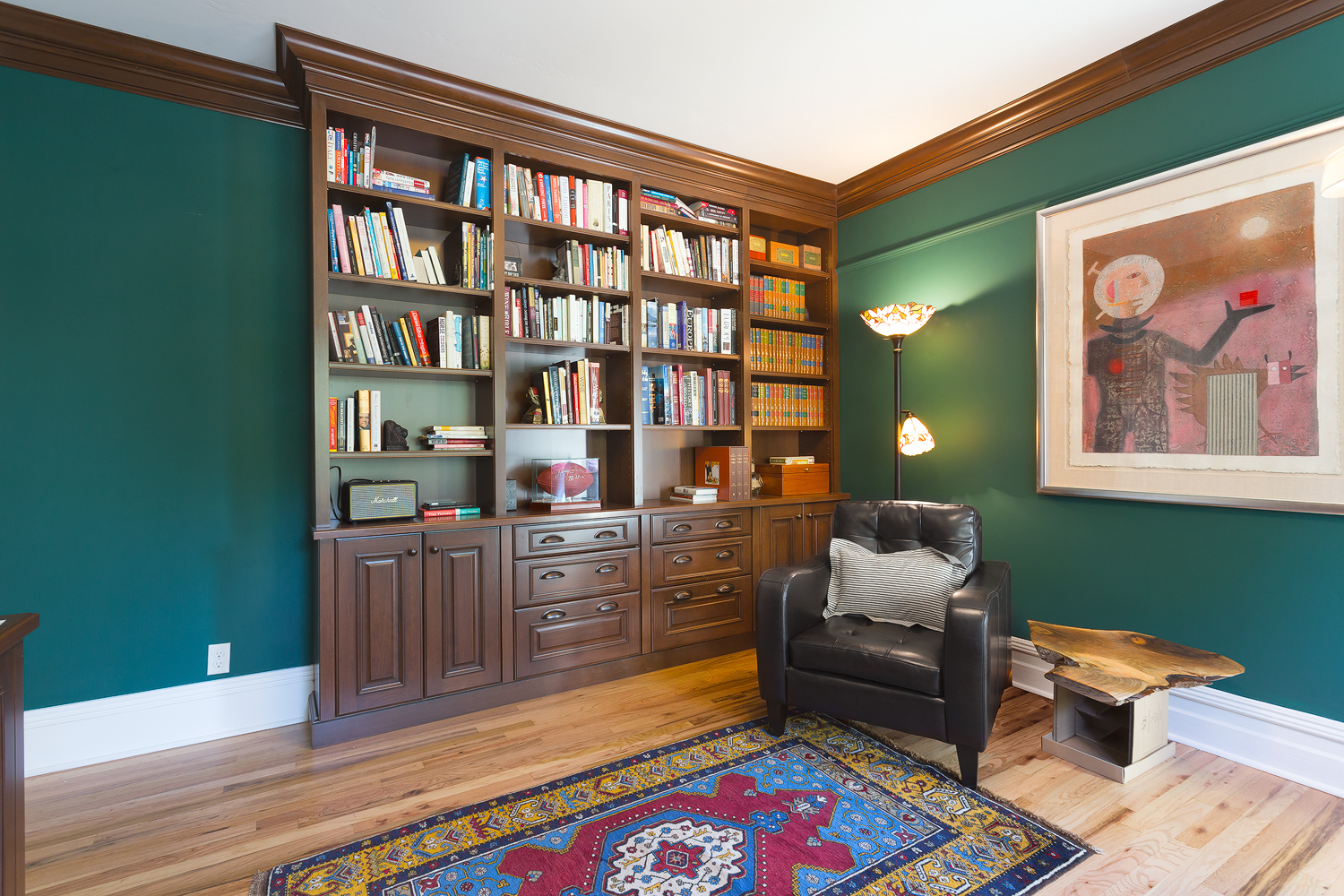 reading room with new book shelf